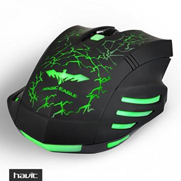 HAVIT HV-MS672 LED Gaming Maus, 2400DPI 6 Tasten und 7 beruhigenden LED-Farben