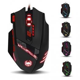 Kingtop optische Gaming Maus für Pro Gamer 9200dpi mit 8 Tasten, LED, USB schnurgebunden - 1