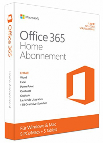 Microsoft Office 365 Home - 5PCs/MACs - 1 Jahresabonnement - multilingual (Product Key Card ohne Datenträger) - 1