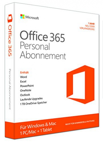 Microsoft Office 365 Personal - 1 PC/MAC - 1 Jahresabonnement - multilingual (Product Key Card ohne Datenträger) - 1