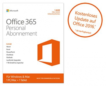Microsoft Office 365 Personal – 1 PC/MAC – 1 Jahresabonnement – multilingual (Product Key Card ohne Datenträger)
