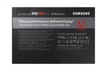 Samsung 950 Pro 256GB interne SSD (M.2 mit NVMe, PCI Express 3.0, bis max. 2.200MB/s) schwarz